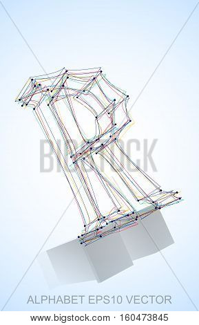 Abstract illustration of a Multicolor sketched R with Reflection. Hand drawn 3D R for your design. EPS 10 vector illustration.