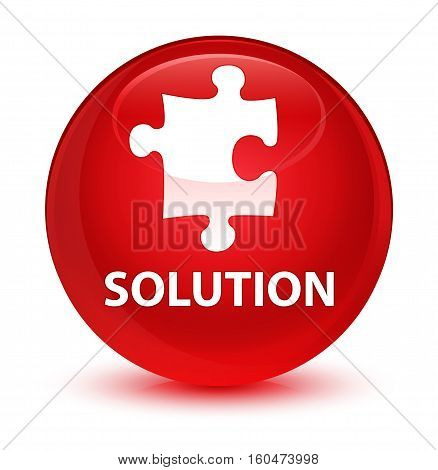 Solution (puzzle Icon) Glassy Red Round Button