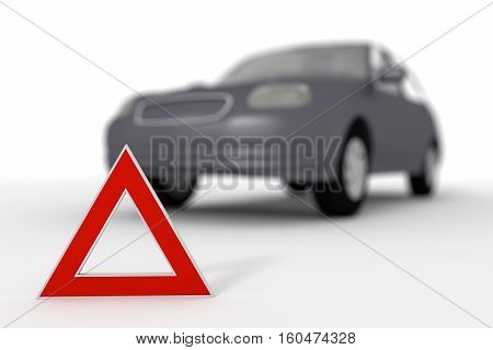 Warning triangle for a broken down car. Depth of field effect. 3d render 3d illustration