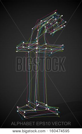 Abstract illustration of a Multicolor sketched F with Transparent Shadow. Hand drawn 3D F for your design. EPS 10 vector illustration.