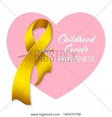 Childhood cancer awareness ribbon. Poster or banner template. Vector illustration