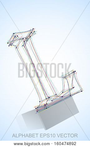 Abstract illustration of a Multicolor sketched L with Reflection. Hand drawn 3D L for your design. EPS 10 vector illustration.