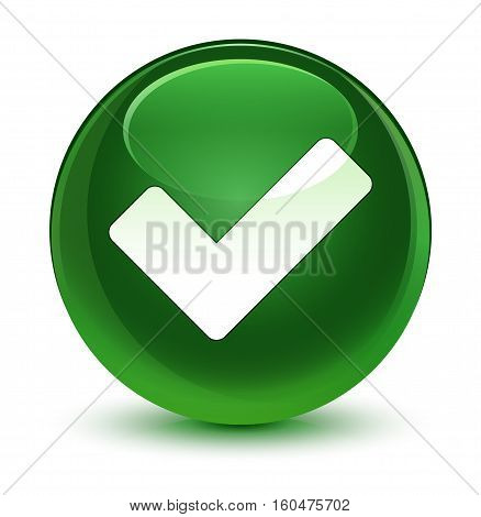 Validate Icon Glassy Soft Green Round Button