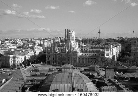 Stunning View of the City Center of Madrid, Spain Monochrome Picture