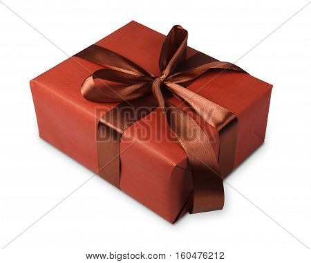 Gift box wrapped with brown maroon paper and satin ribbon, isolated on white background. Modern present for any holiday, christmas, valentine or birthday