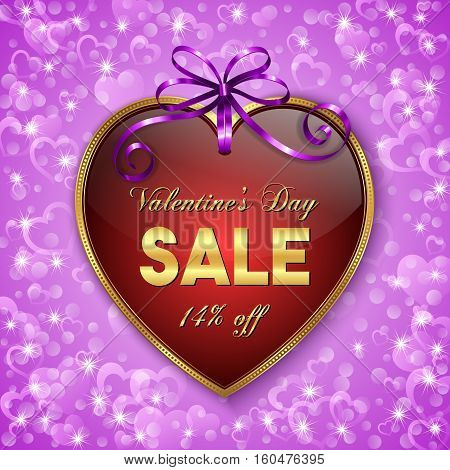 Valentines day sale banner. Heart shaped tag with purple ribbon and bow. Vector illustration.