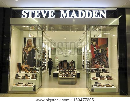 ALBERTA, CANADA - SEPTEMBER 23, 2014: View at Steve Madden shop in Alberta Canada. It is a footwear company founded at 1990.