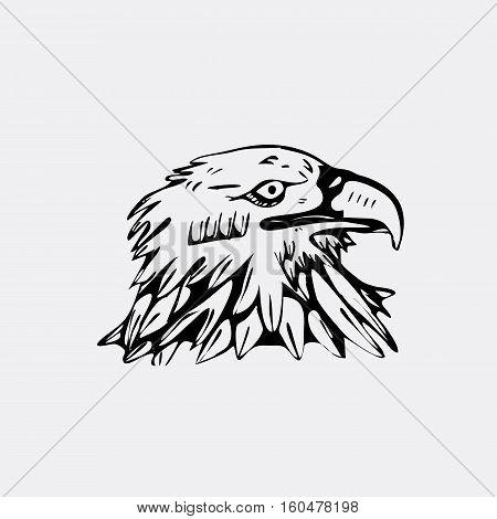 Hand-drawn pencil graphics, bird, eagle, hawk, kite, vulture. Engraving, stencil style. Black and white logo, sign, emblem, symbol. Stamp, seal. Simple illustration. Sketch.