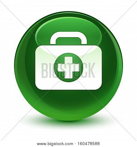 First Aid Kit Bag Icon Glassy Soft Green Round Button