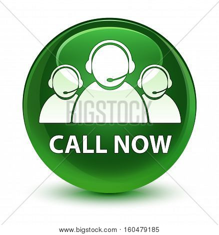 Call Now (customer Care Team Icon) Glassy Soft Green Round Button