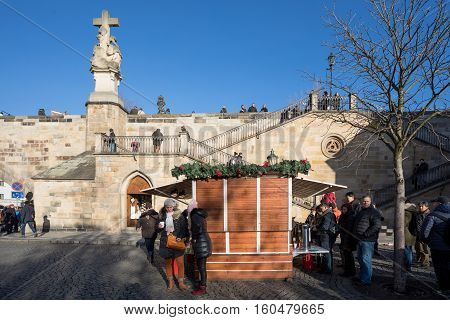 Christmas Market Under Famous Charles Bridge In Prague