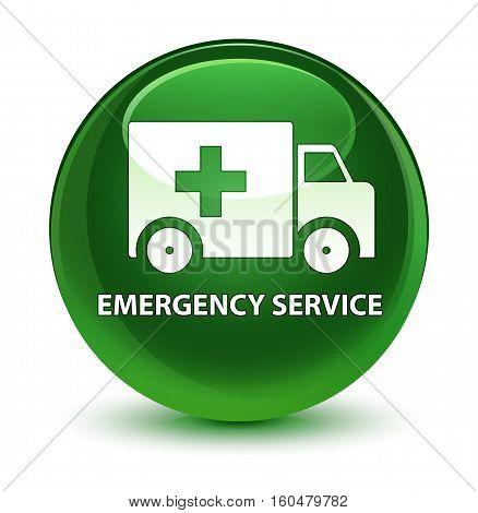 Emergency Service Glassy Soft Green Round Button