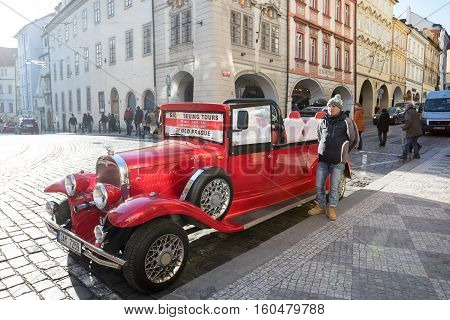Famous Historic Red Car Praga In Prague Street