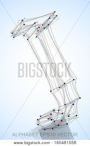 Abstract illustration of a Multicolor sketched J with Reflection. Hand drawn 3D J for your design. EPS 10 vector illustration.