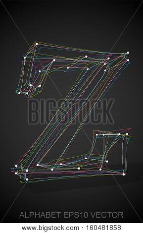 Abstract illustration of a Multicolor sketched Z with Transparent Shadow. Hand drawn 3D Z for your design. EPS 10 vector illustration.