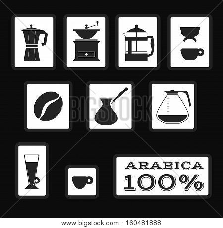 Set of coffee signs and icons for packaging. Vector. Isolated illustration. Filter, french press, moka, coffee grinder, coffee bean, latte, arabica espresso