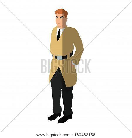 Inspector man cartoon icon. Comic character and caricature theme. Isolated design. Vector illustration