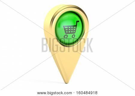 Map pointer with shopping cart. Shopping location concept 3D rendering isolated on white background