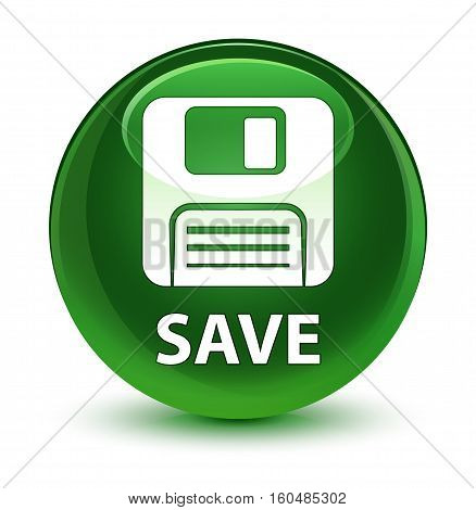 Save (floppy Disk Icon) Glassy Soft Green Round Button
