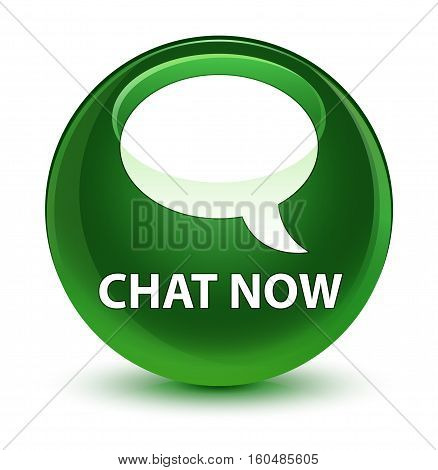 Chat Now Glassy Soft Green Round Button