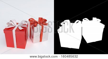 glossy red christmas gifts isolated on white with alpha mask - 3D render.