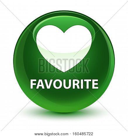 Favourite (heart Icon) Glassy Soft Green Round Button