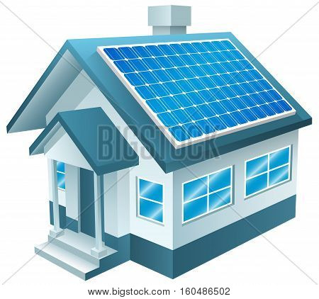 Vector Illustration of Solar Powered Home. Best for Alternative Energy, Technology, Conservation, Recycling, Green Energy concept.