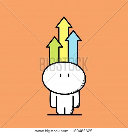 Cute funny and smart man with colored arrows above the head on the orange background. Resourceful, creative and intelligent - cartoon vector illustration.