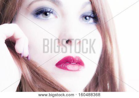 Close-up Of Woman's Face With Makeup
