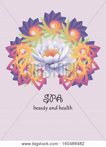 Logo lotus . Indian style . Gentle color . Lily flower on a background pattern mandala. Line length of Buddhism yoga and spa salon. Vector illustration .
