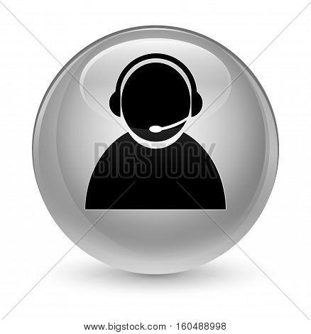 Customer Care Icon Glassy White Round Button