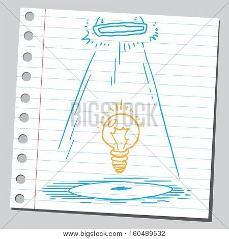 Lightbulb in spotlight (idea concept)