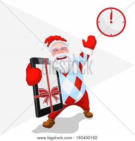 Mobile phone & time of gifts - Gift Time - New Year came - Christmas Santa with telephone - Trendy Santa Claus