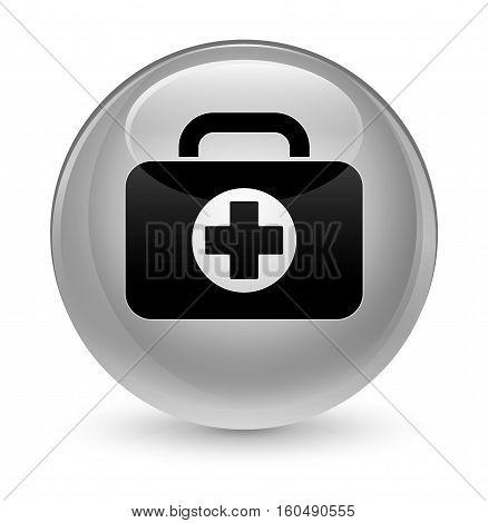 First Aid Kit Bag Icon Glassy White Round Button