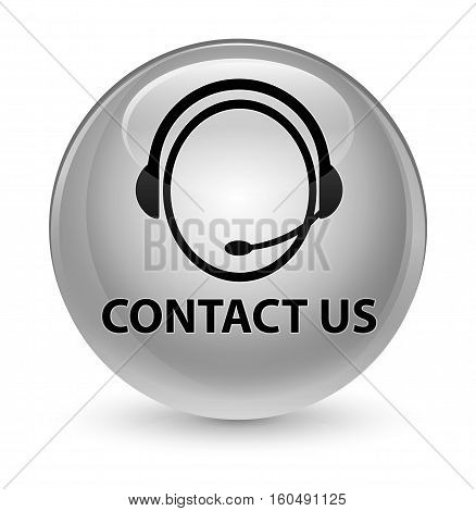 Contact Us (customer Care Icon) Glassy White Round Button