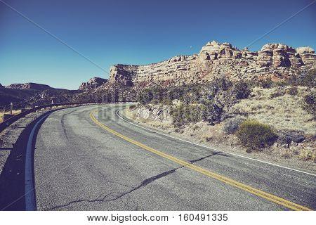 Vintage Stylized Road, Travel Concept Background.