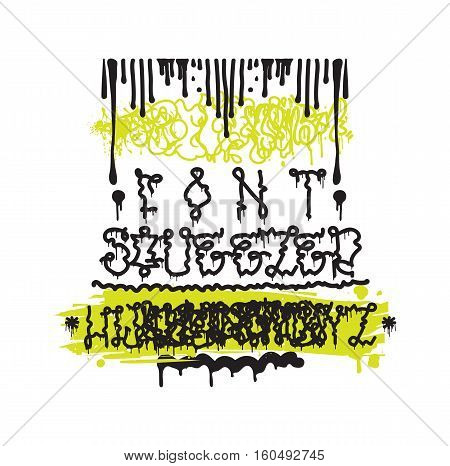 Vector fashion graffiti font. Hand drawing alphabet, design elements in black, white, yellow