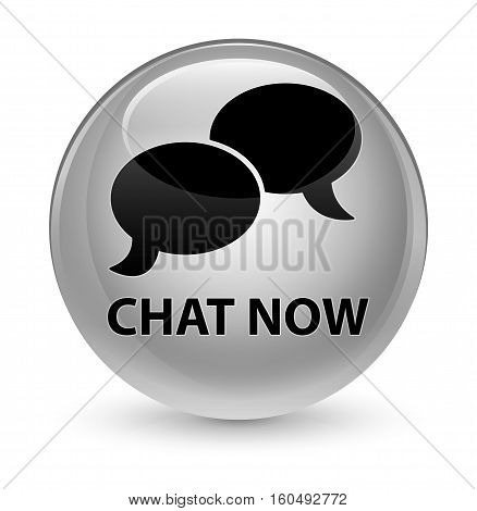 Chat Now Glassy White Round Button