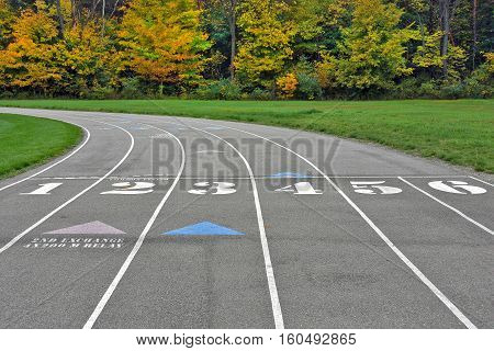 track and field venue with numbers and arrows in autumn woods
