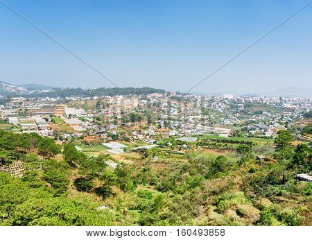 View Of The Valley Of Agricultural Lands And Da Lat City (dalat)