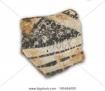 common decorated Anasazi pottery shard with black painted designs on white