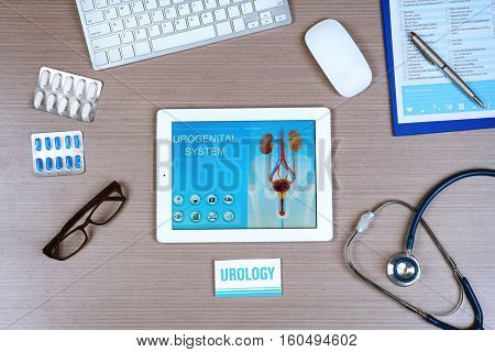 Urologist workplace in office
