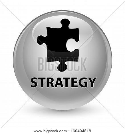 Strategy (puzzle Icon) Glassy White Round Button