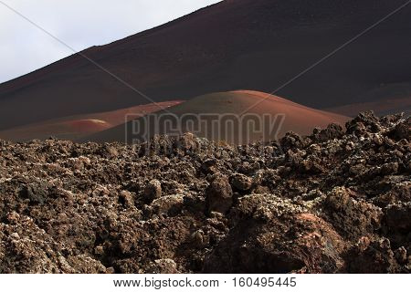 Desert Stone Volcanic Landscape In Lanzarote, Canary Islands