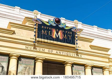 ORLANDO USA - NOVEMBER 1 2016: Entrance to Revenge of the Mummy ride. Universal Studios Orlando is a theme park resort in Orlando Florida USA