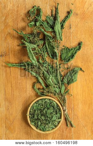 Nettle. Dried herbs for use in alternative medicine spa herbal cosmetics herbal medicine preparing infusions decoctions tinctures powders ointments butter tea bath.