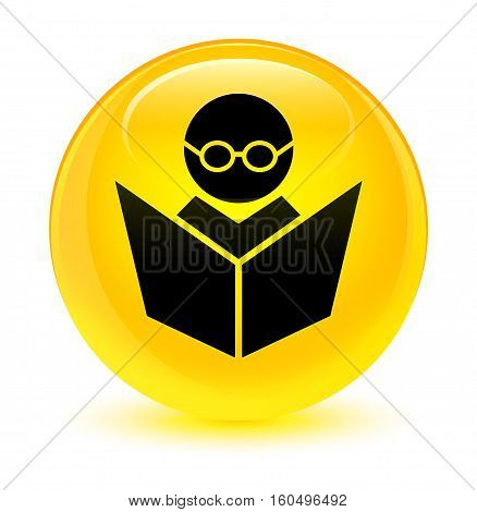 Elearning Icon Glassy Yellow Round Button