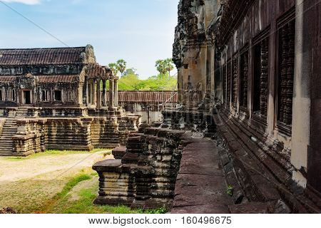 Library Building And Wall Of Angkor Wat In Siem Reap, Cambodia