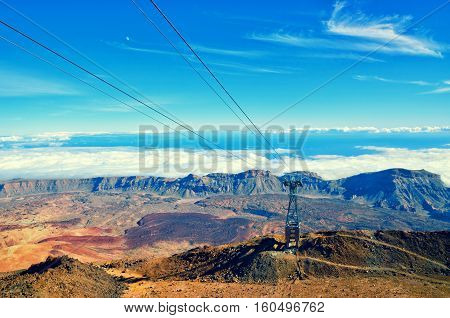 Cableway on the volcano Teide. Touristic way to Pico del Teide mountain. El Teide National park landmark on Tenerife Canary Islands Spain.