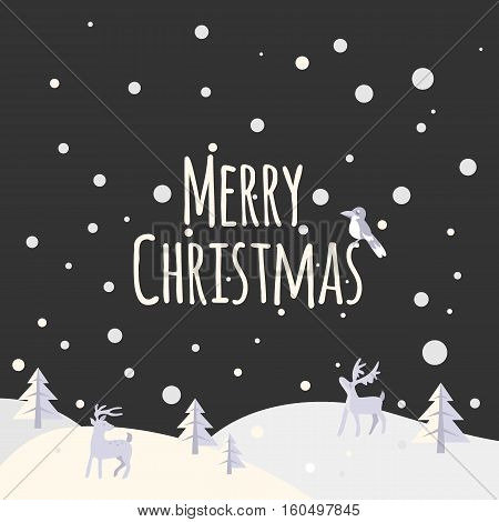 Night Christmas landscape with trees and forest animals. Snowy night. Snow night background. Greeting Card Merry Christmas